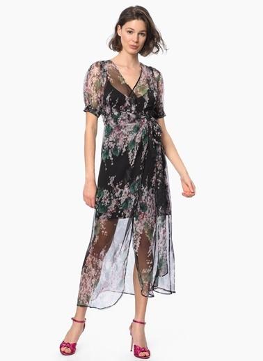 NetWork Çiçekli Tül Elbise Siyah